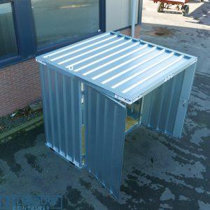 Kleine rookcontainer met afdak overkapping