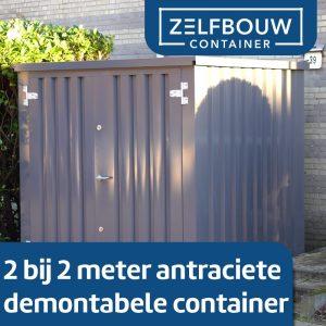 Demontabele Container Grijs 2 x 2 enkele deur korte zijde